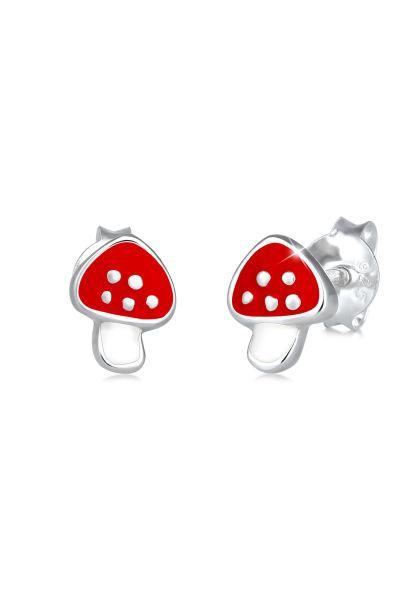 Elli Ohrringe Kinder Roter Pilz Glücksbringer Emaille 925 Silber