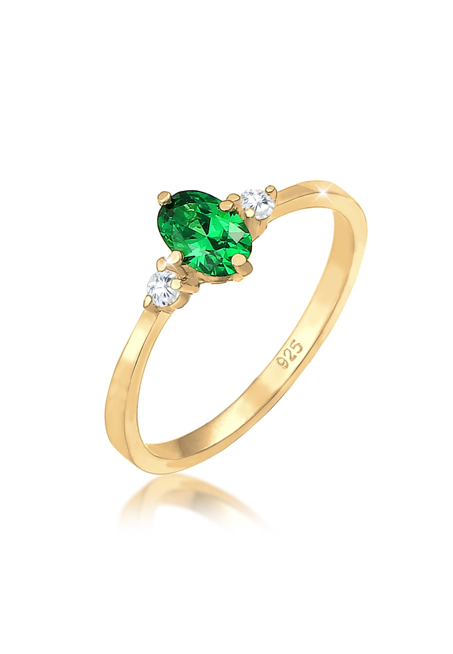 Verlobungsring | Zirkonia ( Grün ) | 925 Sterling Silber vergoldet