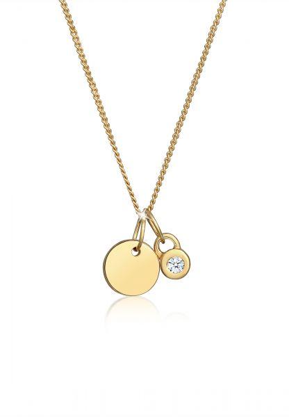 DIAMORE Halskette Kreis Geo Solitär Diamant (0.03 ct.) 585 Gelbgold