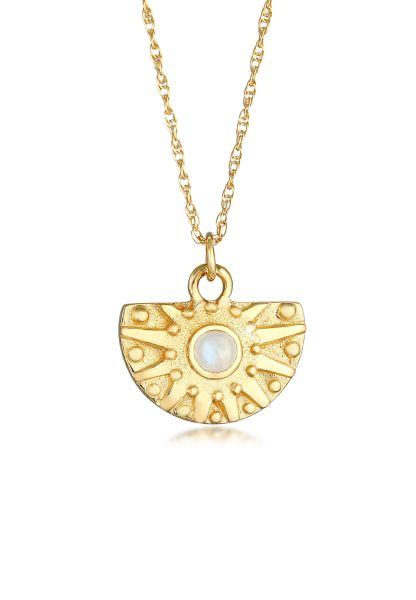 Elli Halskette Sonne Coin Antik Mondstein 925 Silber v