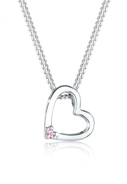 Elli Halskette Herz Rosa Kristall 925 Sterling Silber