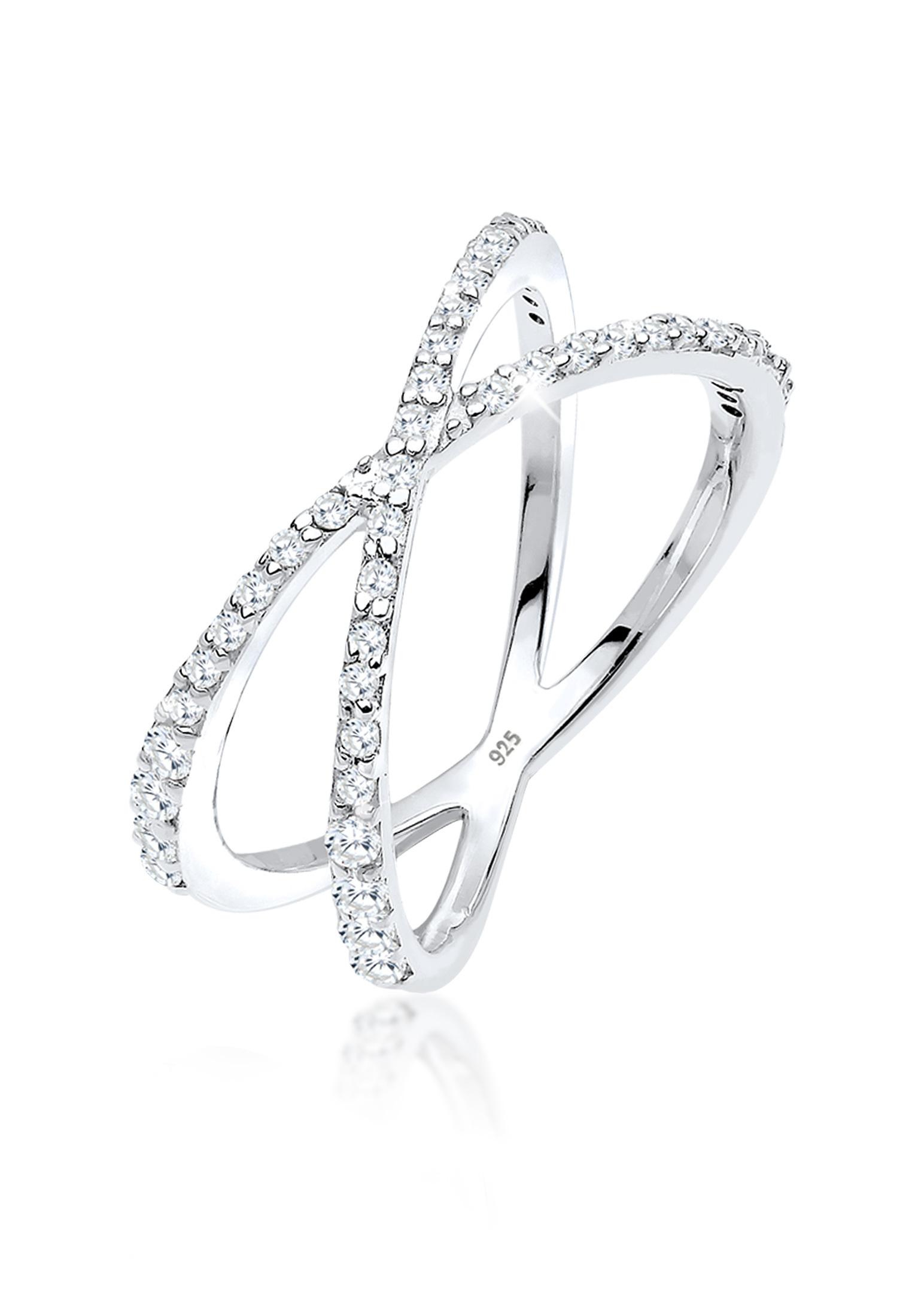 Ring Kreuz | Zirkonia ( Weiß ) | 925er Sterling Silber