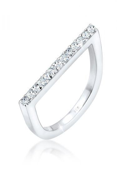 Elli Ring Geo Trend Kristalle 925 Sterling Silber