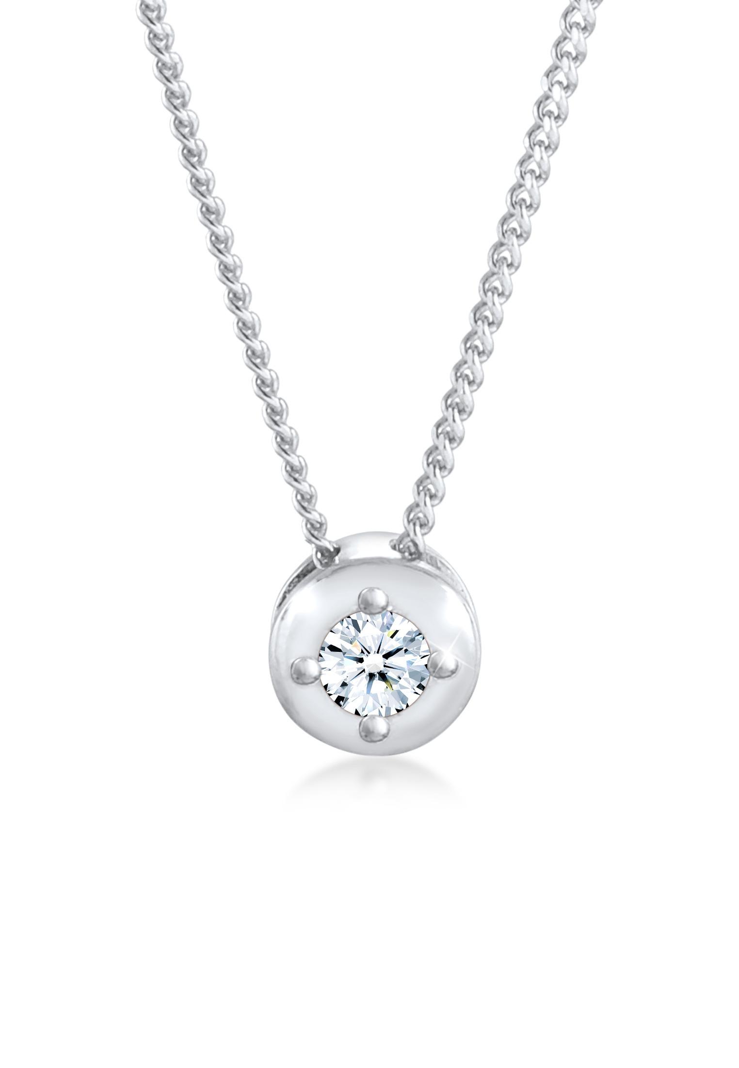 Halskette Solitär Klassisch | Diamant (0.11 ct.) | 925er Sterling Silber