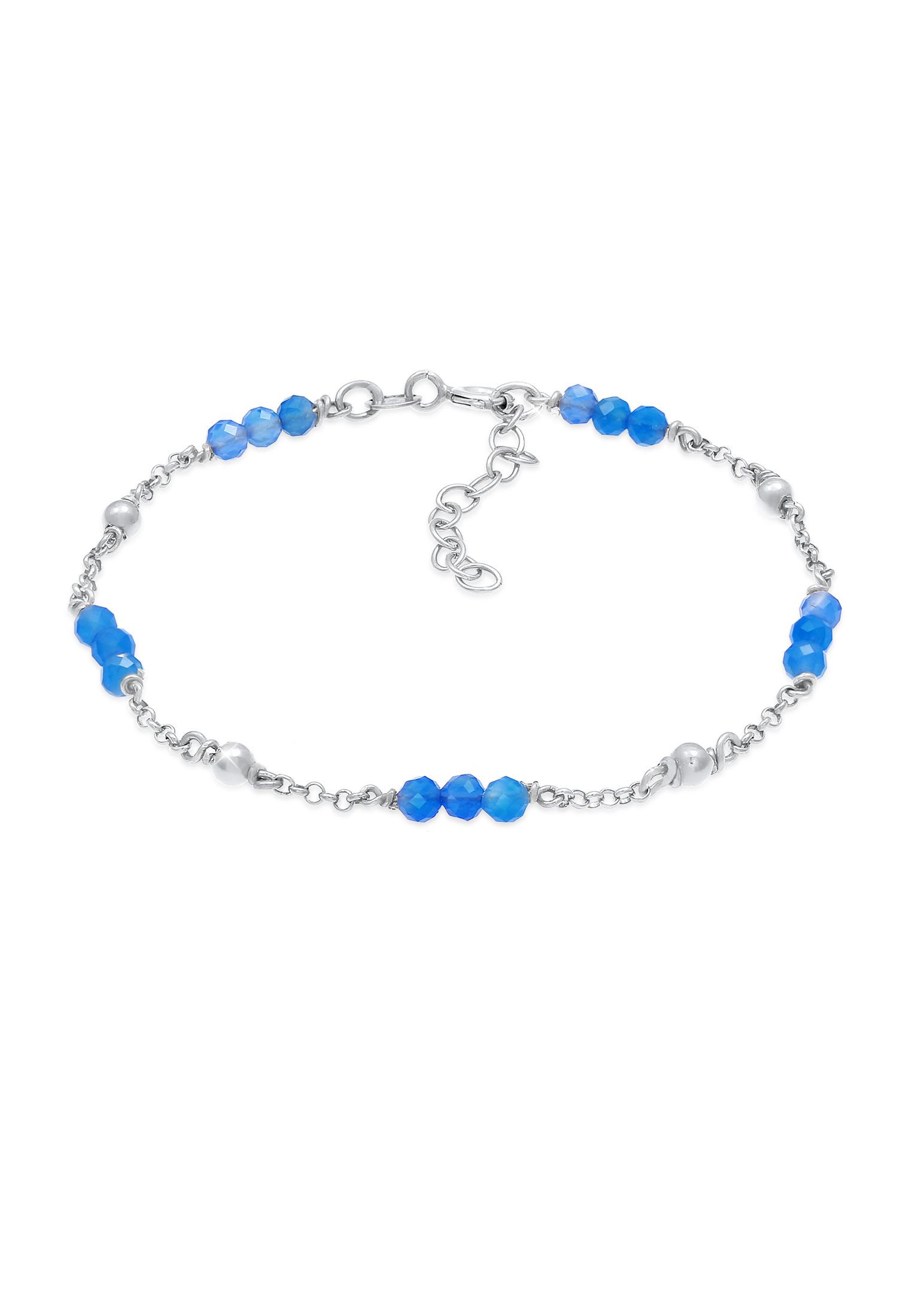 Armband Kugel | Achat ( Blau ) | 925er Sterling Silber