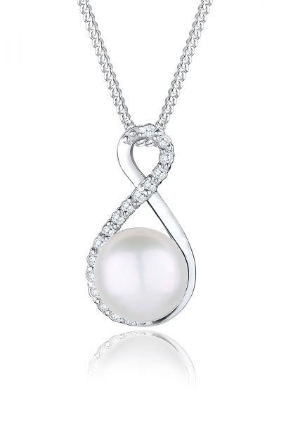 Halskette Infinity | Süßwasserperle, Zirkonia ( Weiß ) | 925er Sterling Silber