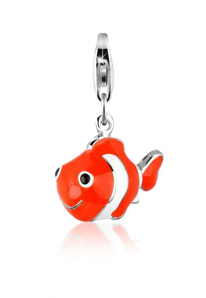 Nenalina Charm Anhänger Clownfisch Fisch Bunt Emaille 925 Silber