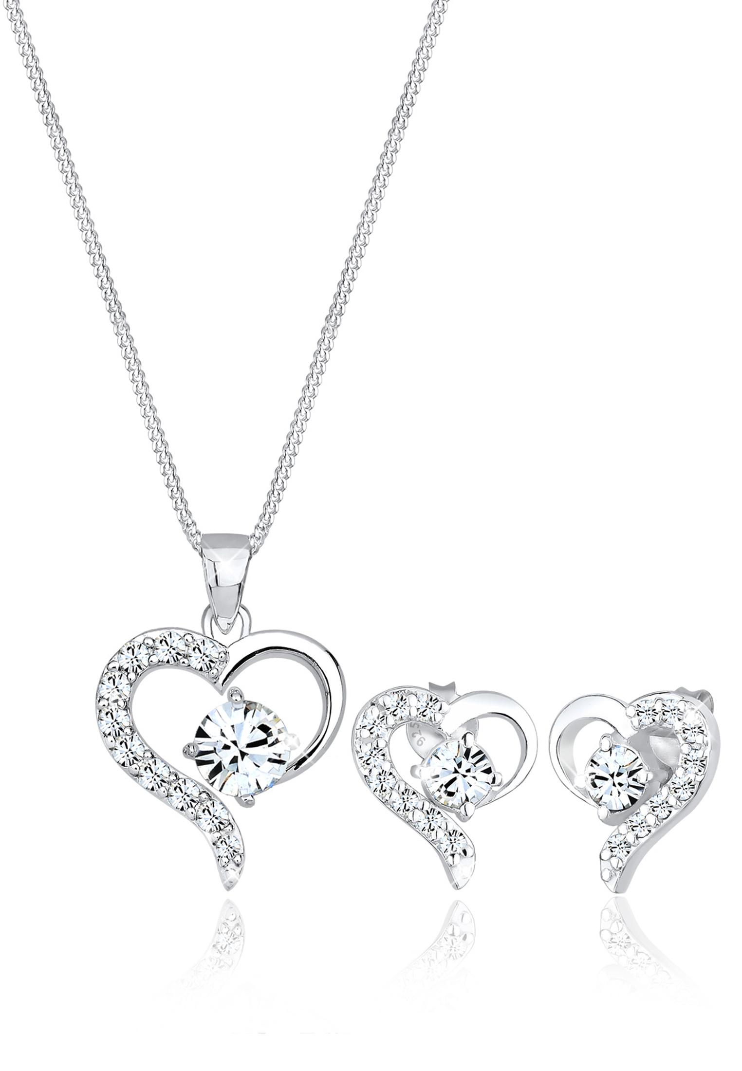 Schmuckset Herz   Kristall ( Weiß )   925er Sterling Silber