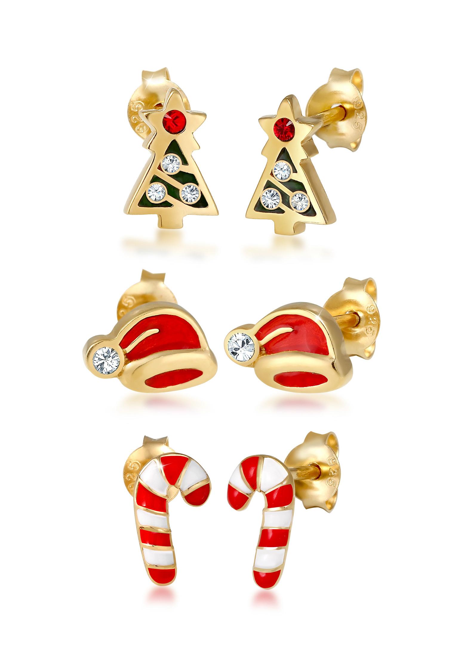 Ohrringset Tannenbaum | Kristall ( Rot ) | 925 Sterling Silber vergoldet