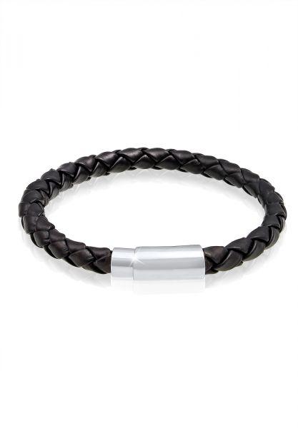 KUZZOI Armband Echtleder Magnet Basic Cool 925 Sterling Silber