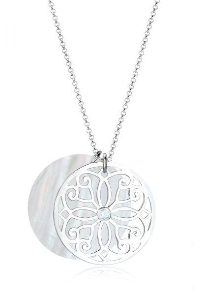 Elli PREMIUM Halskette Ornament Perlmutt Topas 925 Sterling Silber