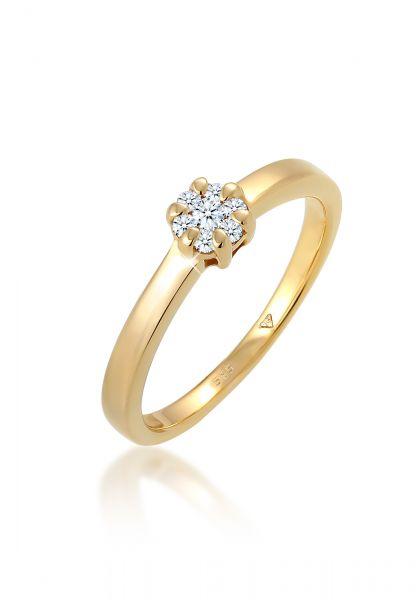 DIAMORE Ring Blume Verlobung Diamant (0.12 ct.) 585 Gelbgold
