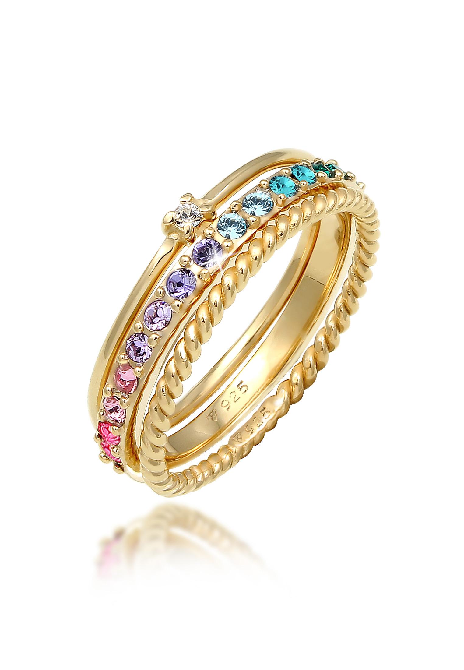 Ring 3er Set | Kristalle (bunt) | 925er Sterling Silber