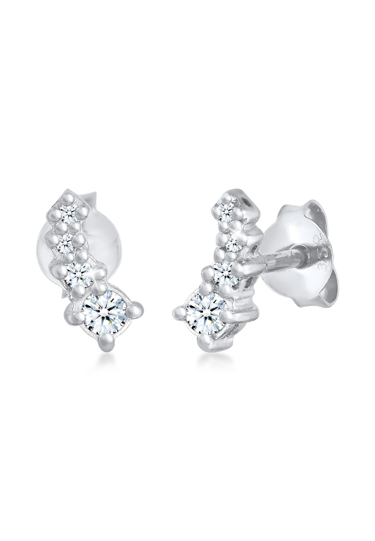 Ohrstecker Verlauf | Diamant (0.17 ct.) | 925er Sterling Silber