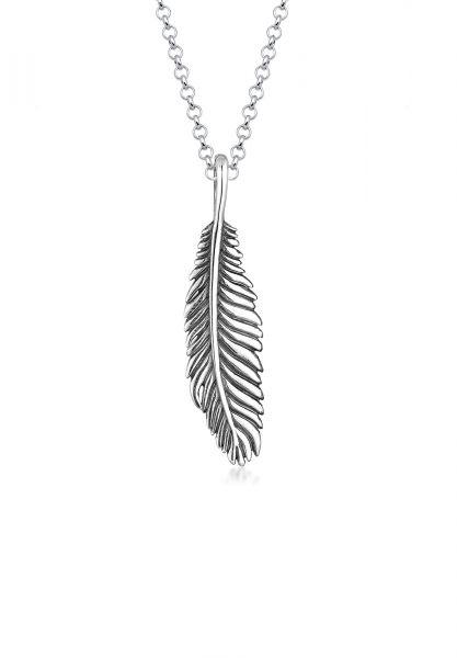 KUZZOI Halskette Herren Basic Casual Feder Anhänger 925 Silber