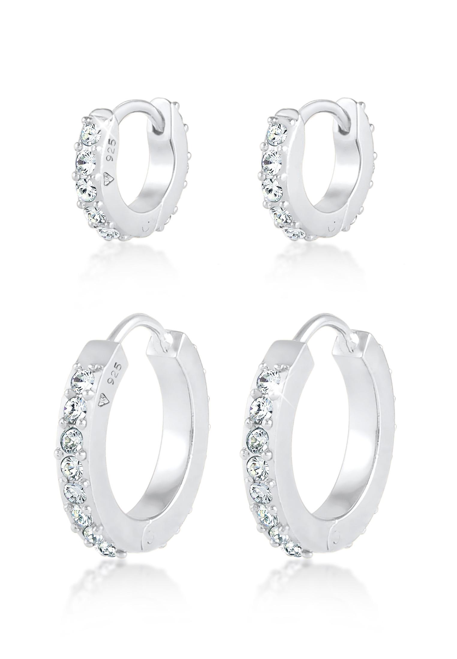 Creole | Kristall ( Weiß ) | 925er Sterling Silber