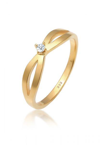Solitär-Ring   Diamant ( Weiß, 0,03 ct )   585 Gelbgold