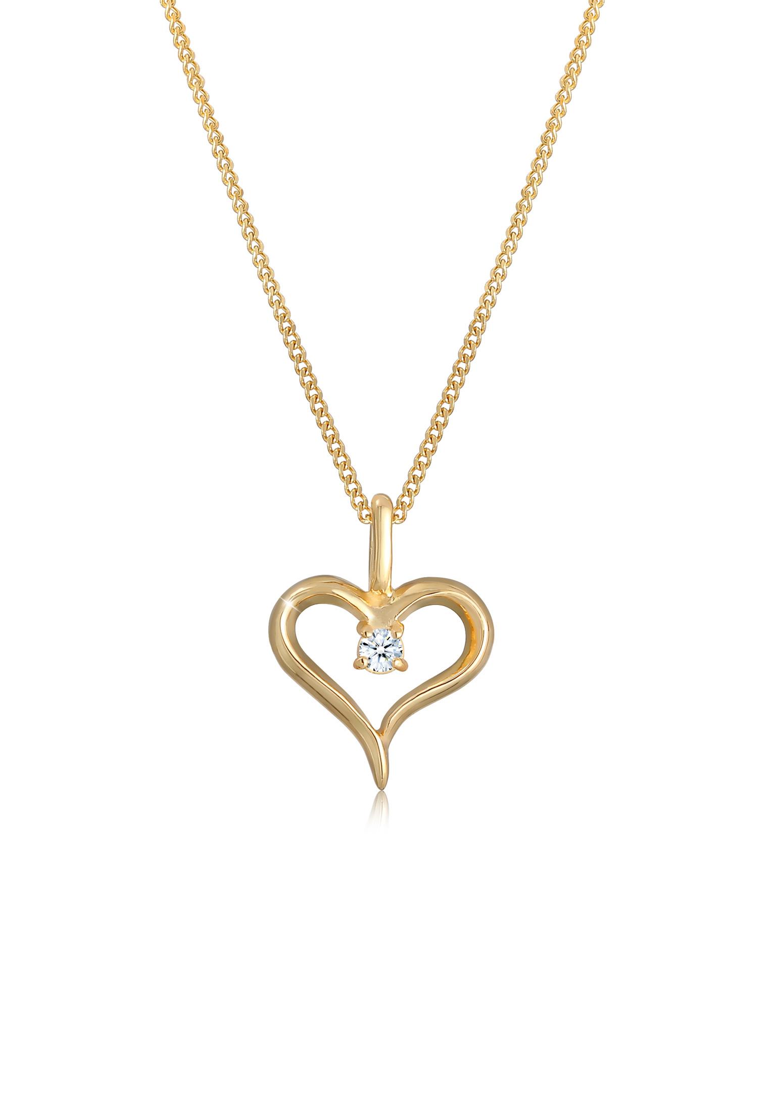 Halskette Herz | Diamant ( Weiß, 0,03 ct ) | 585 Gelbgold