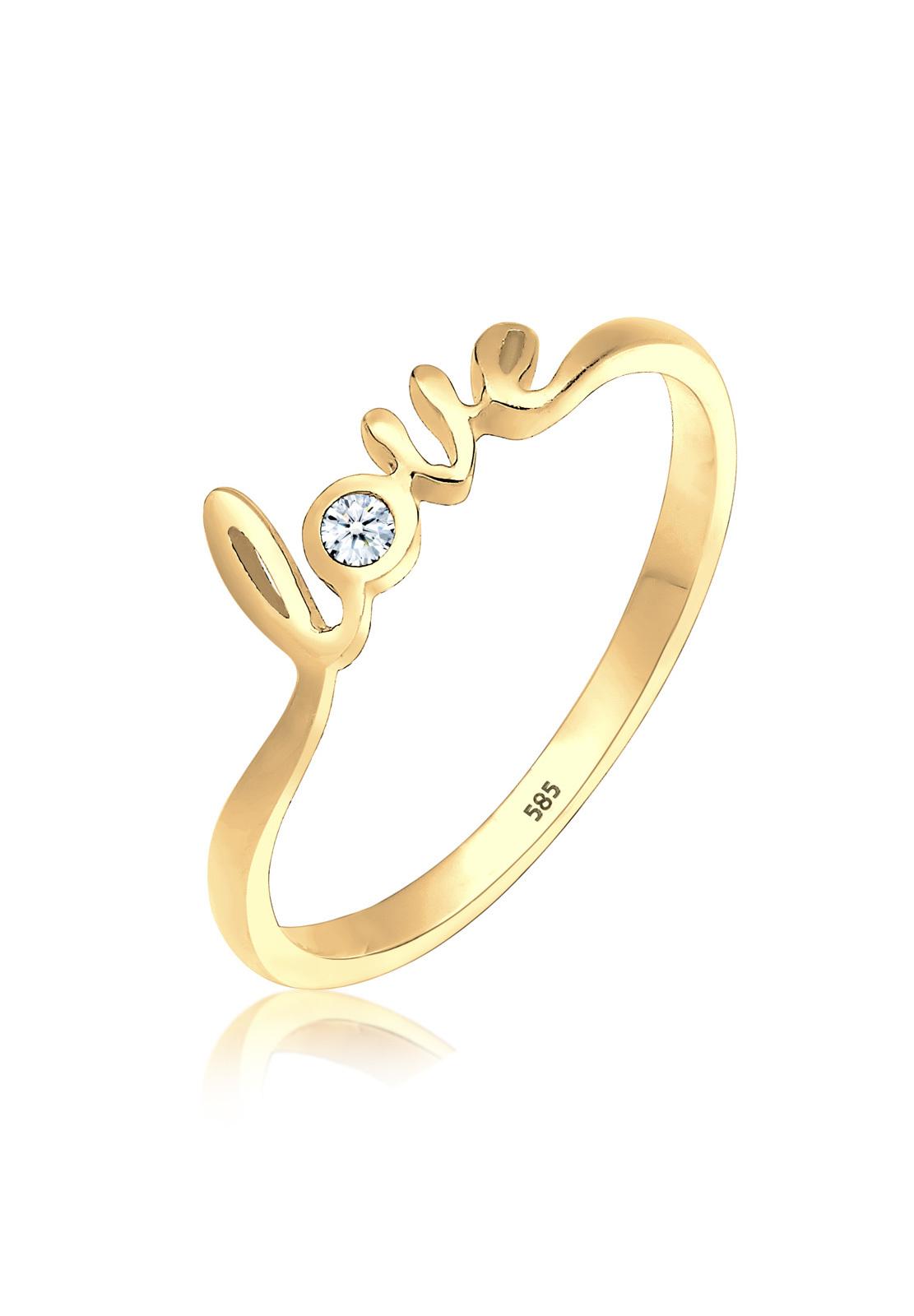 Verlobungsring Love | Diamant ( Weiß, 0,03 ct ) | 585 Gelbgold