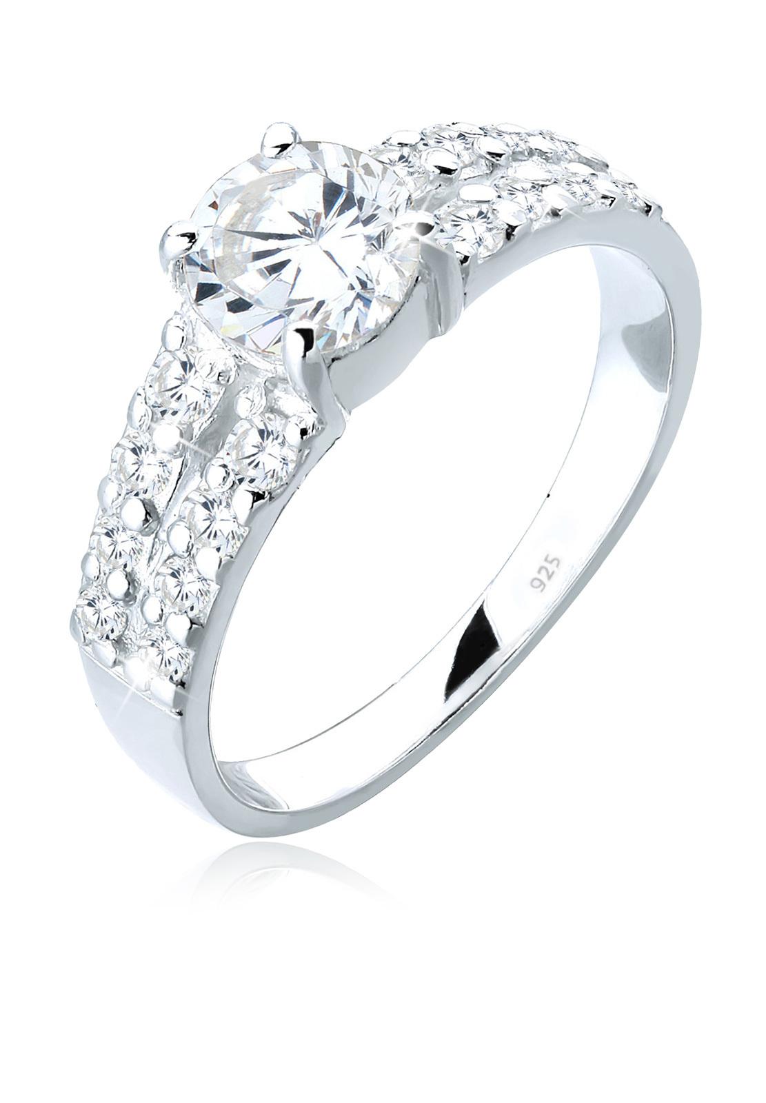 Solitär-Ring | Zirkonia ( Weiß ) | 925er Sterling Silber