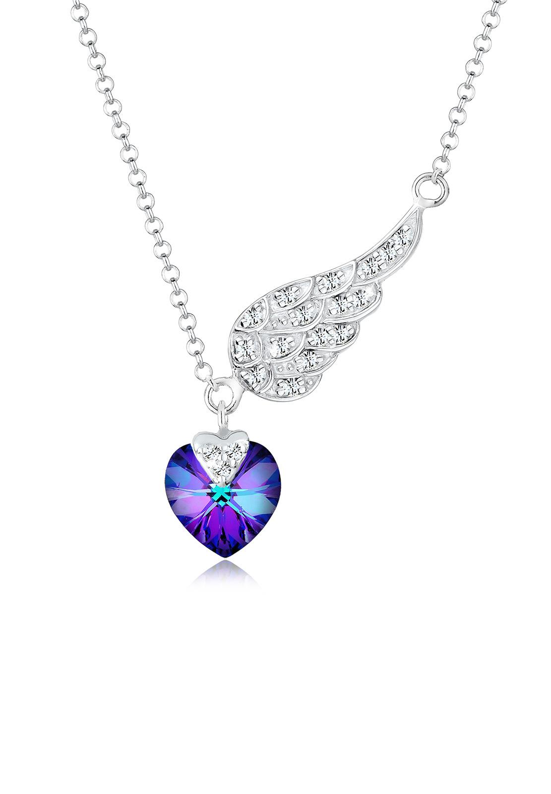 Halskette Flügel | Kristall ( Blau ) | 925er Sterling Silber