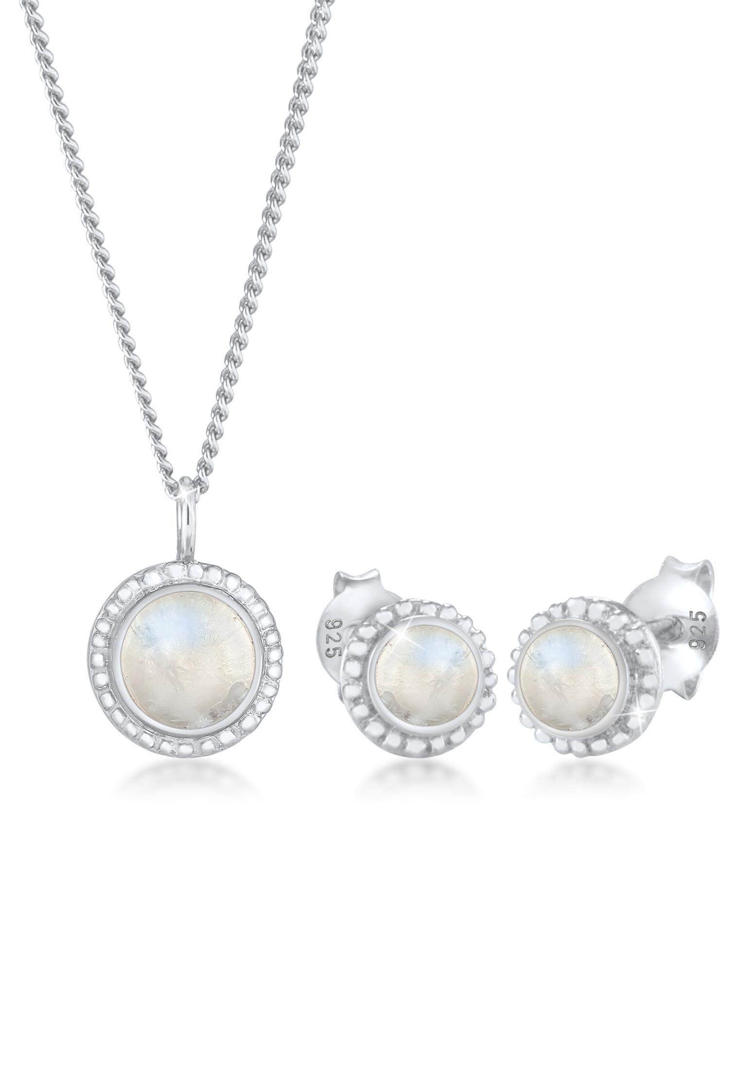 Schmuckset Boho | Mondstein (Weiß) | 925er Sterling Silber