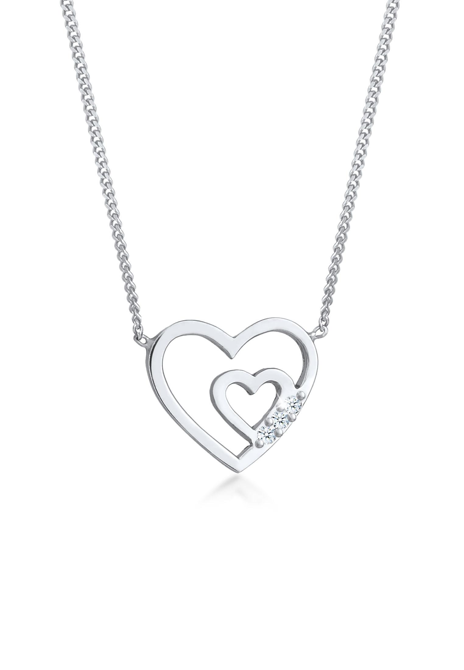 Halskette | Diamant ( Weiß, 0,045 ct ) | 925er Sterling Silber