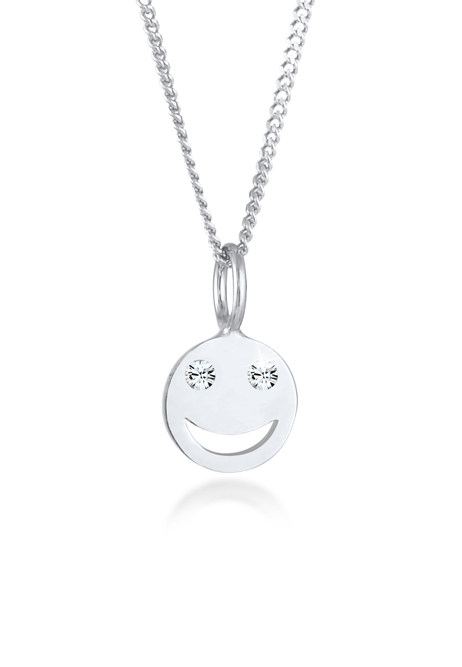 Halskette Smiley | Kristall ( Weiß ) | 925er Sterling Silber