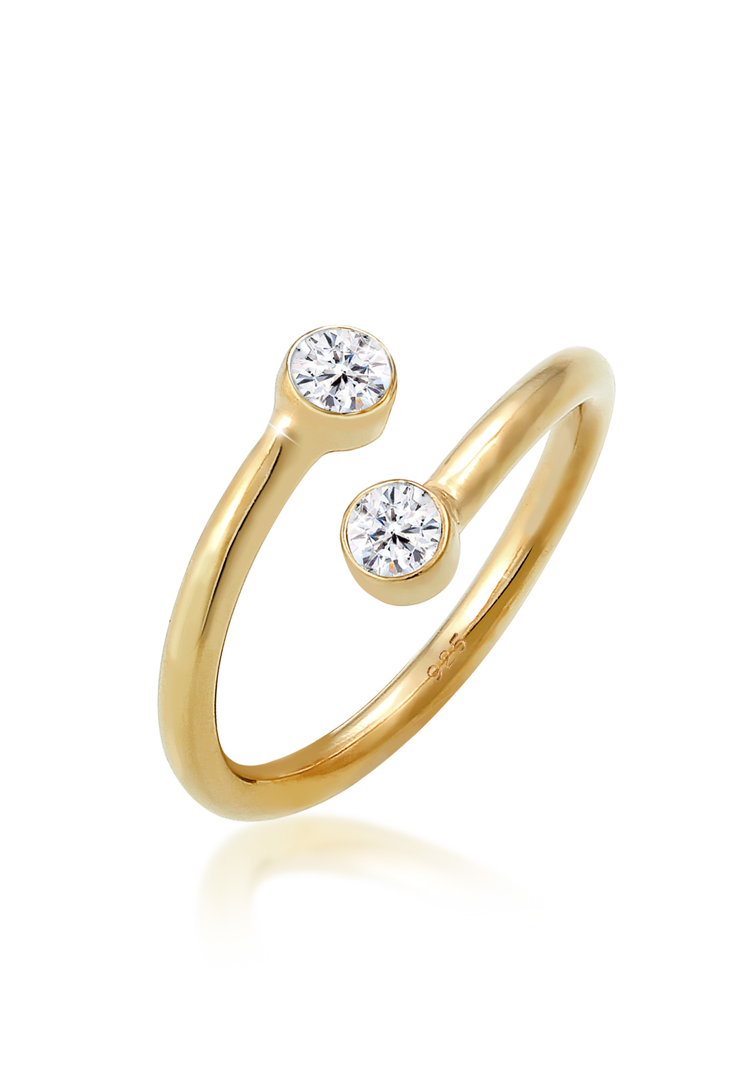 Wickelring | Kristall ( Weiß ) | 925 Sterling Silber vergoldet