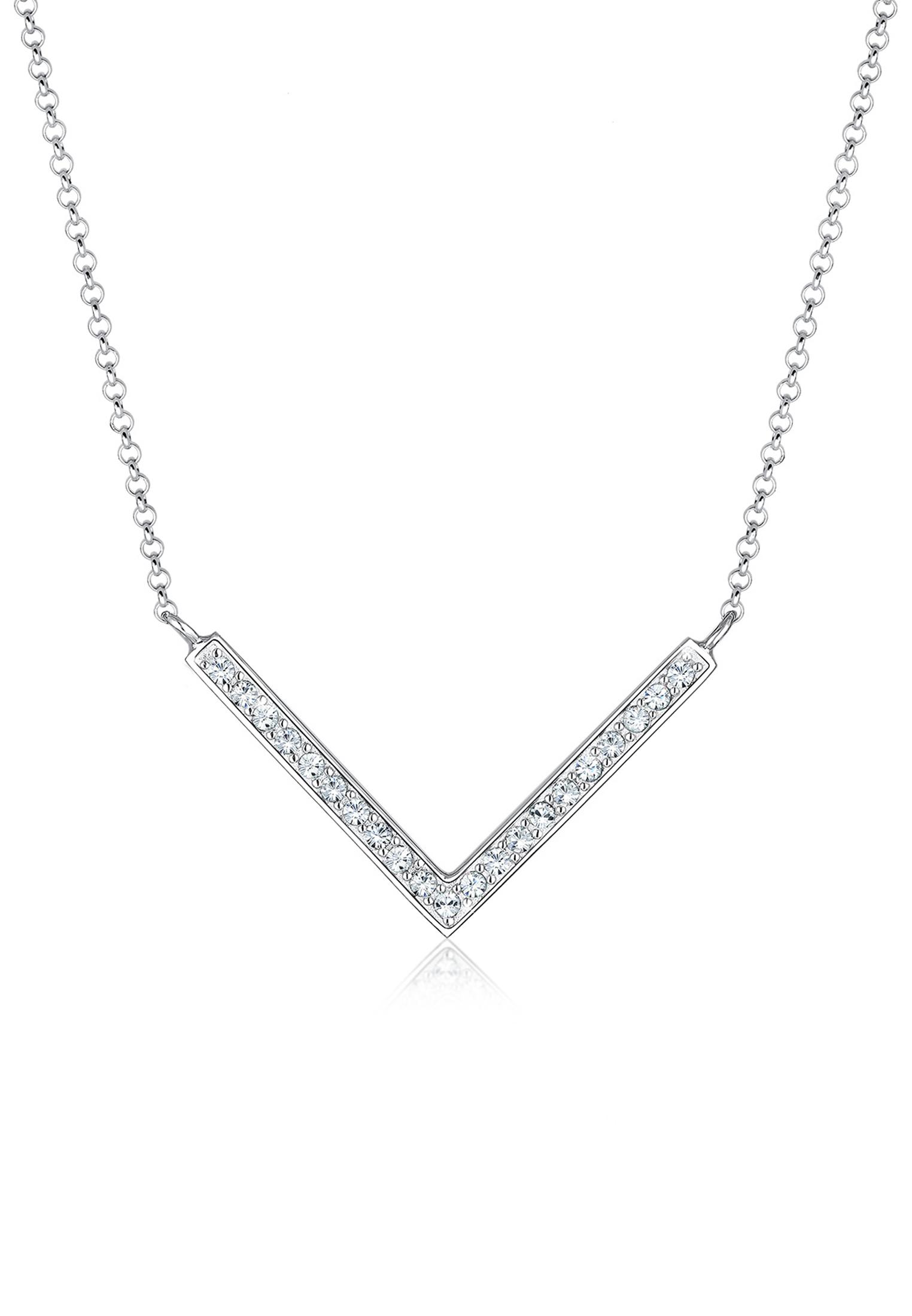 Halskette Dreieck   Kristall ( Weiß )   925er Sterling Silber