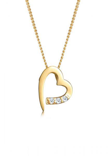 Halskette Herz | Diamant ( Weiß, 0,045 ct ) | 585 Gelbgold