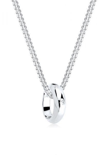 Halskette | Diamant ( Weiß, 0,005 ct ) | 925er Sterling Silber