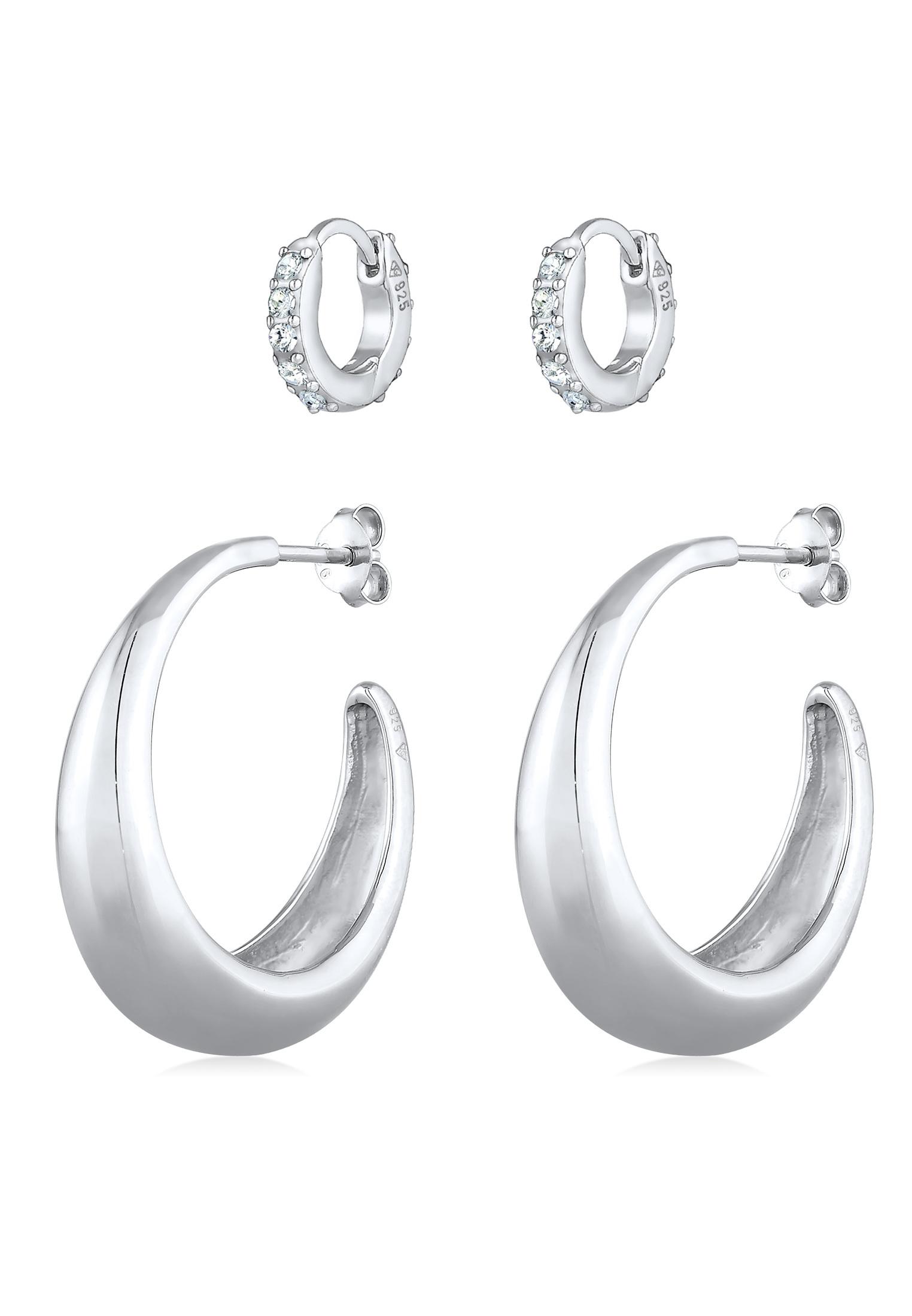 Ohrringset   Kristall ( Weiß )   925er Sterling Silber
