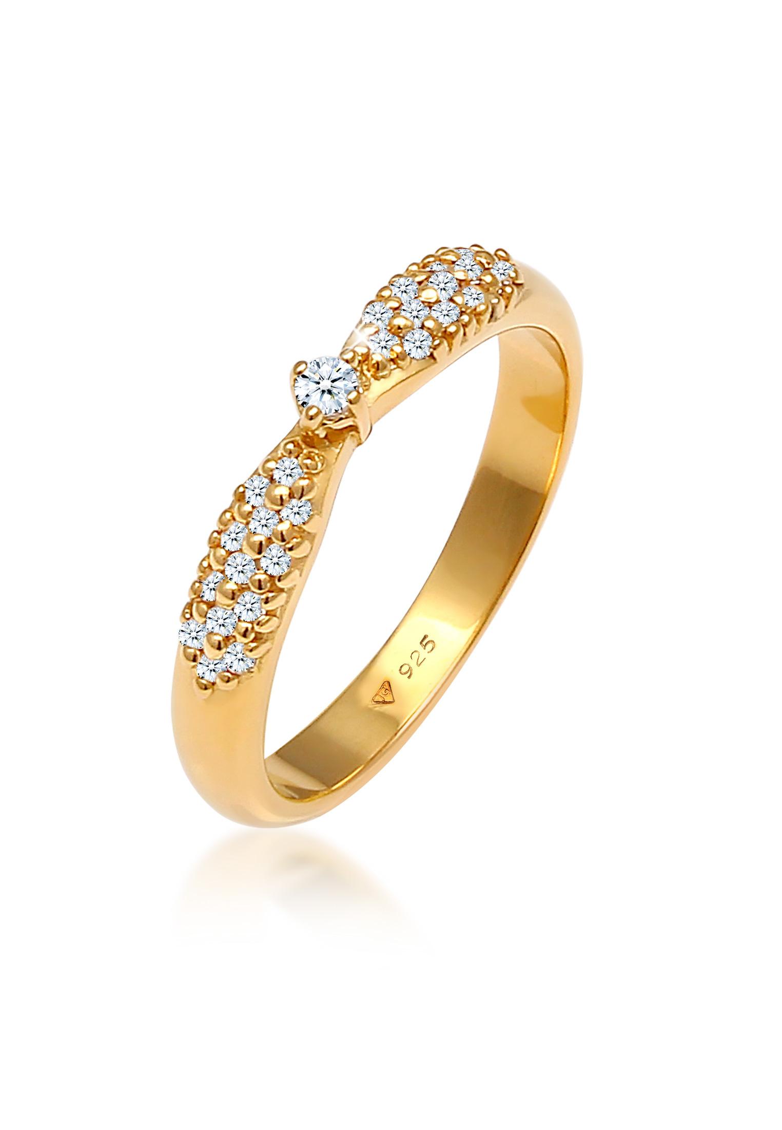 Verlobungsring | Diamant ( Weiß, 0,16 ct ) | 925 Sterling Silber vergoldet