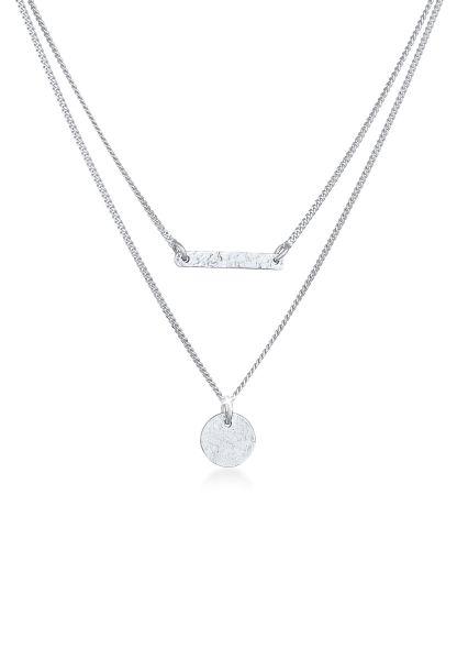 Elli Halskette Layer Stab Plättchen Kreis Geo 2-lagig 925 Silber