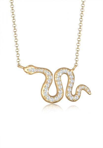 Halskette Schlange | Zirkonia ( Weiß ) | 925 Sterling Silber vergoldet