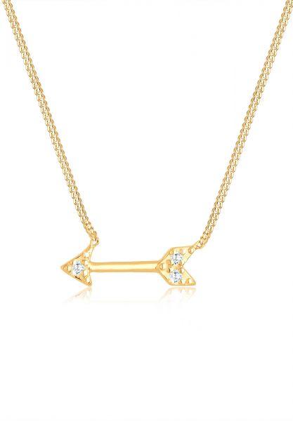 Halskette Pfeil   Zirkonia ( Weiß )   925 Sterling Silber vergoldet