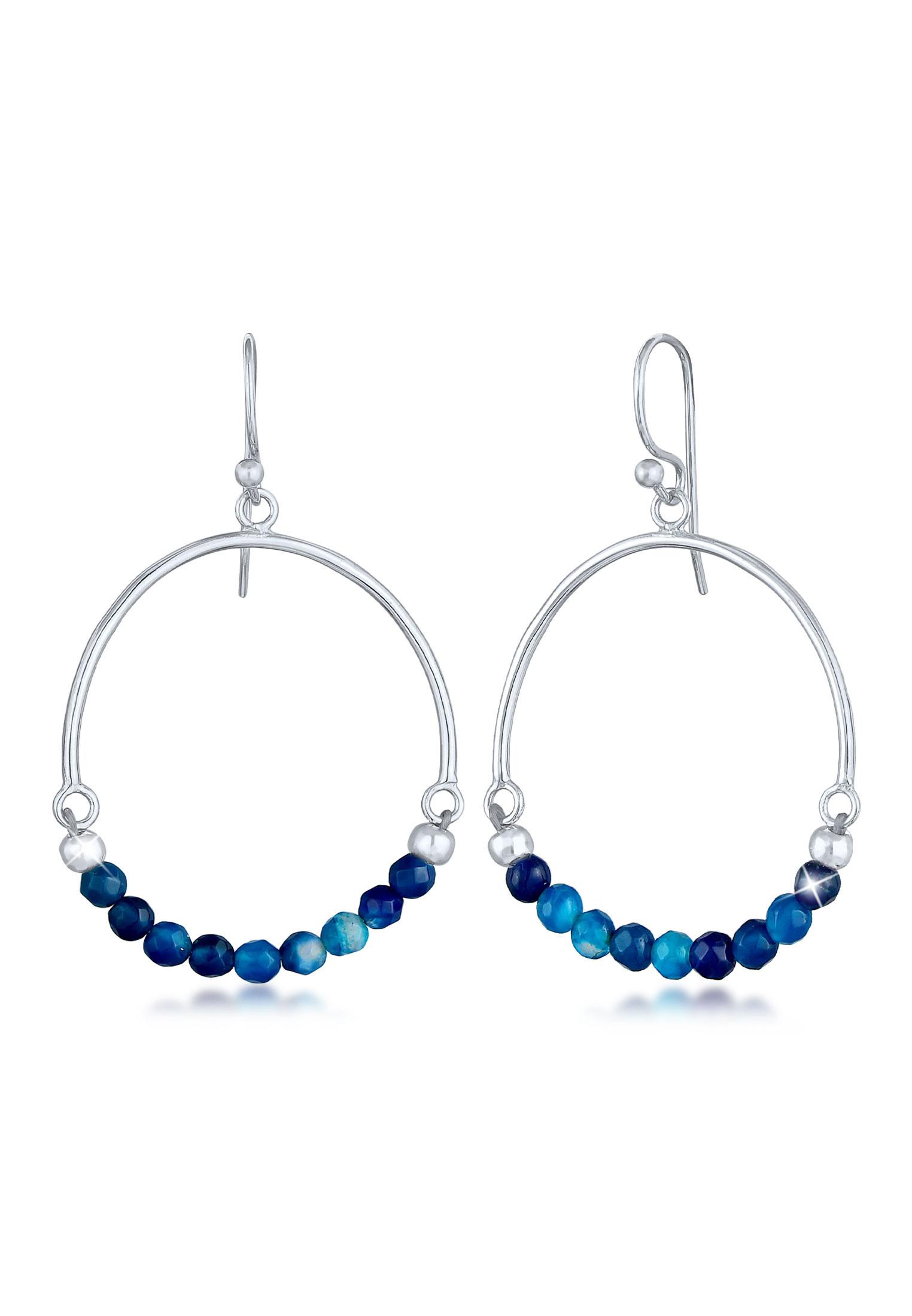 Ohrhänger | Achat ( Blau ) | 925er Sterling Silber