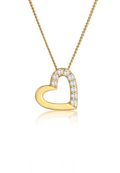 Elli PREMIUM Halskette Herz Zirkonia 585 Gelbgold