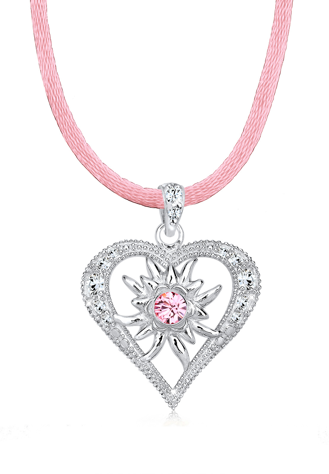 Glieder-Halskette Herz | Kristall ( Rosa ) | 925er Sterling Silber
