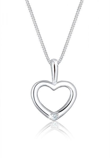 DIAMORE Halskette Herz Filigran Diamant (0.015 ct.) 925 Silber