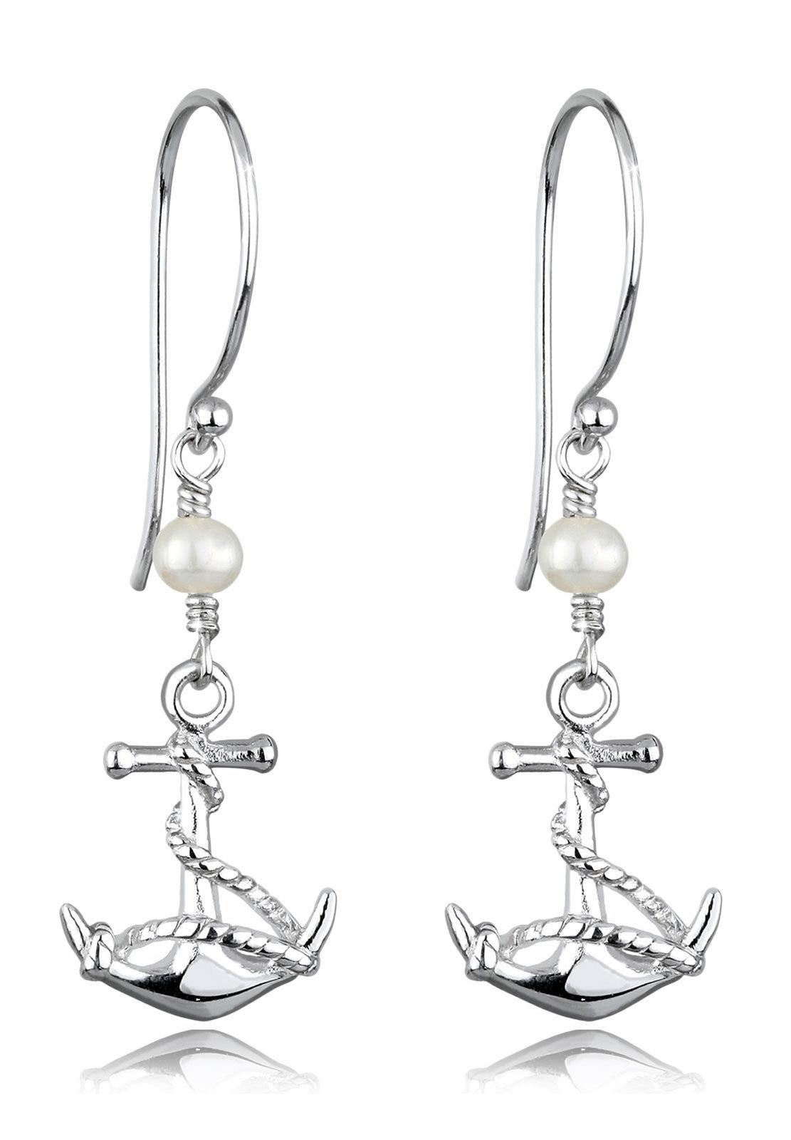 Ohrhänger Anker | Süßwasserperle | 925er Sterling Silber