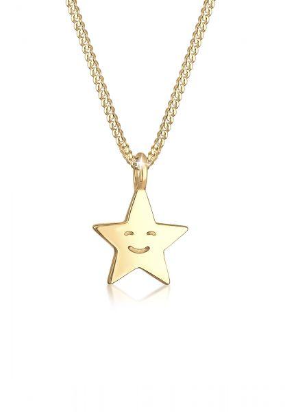 Elli Halskette Kinder Astro Stern Gesicht 925er Sterling Silber