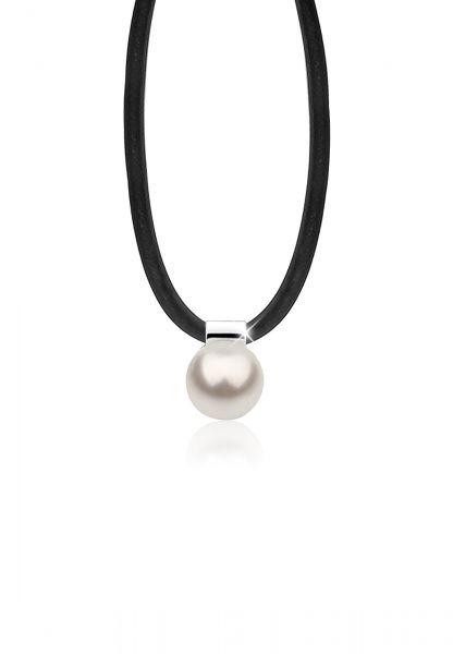Nenalina Halskette Kautschuk Synthetische Perle 925 Silber
