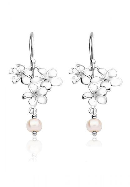 Nenalina Ohrringe Ohrhänger Blume Süßwasserzuchtperle 925 Silber