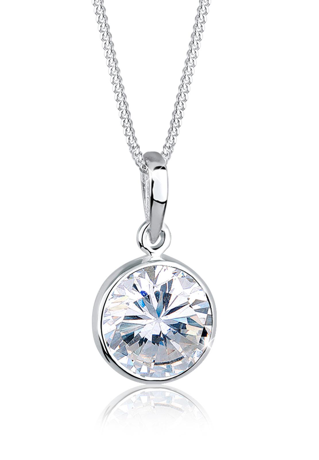 Halskette   Zirkonia ( Weiß )   925er Sterling Silber