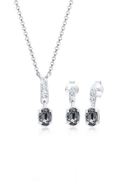 Elli Schmuckset Erbskette Stecker Kristalle 925 Silber