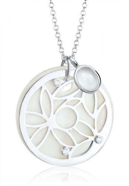 Lange Halskette Blume | Mondstein ( Weiß ) | 925er Sterling Silber