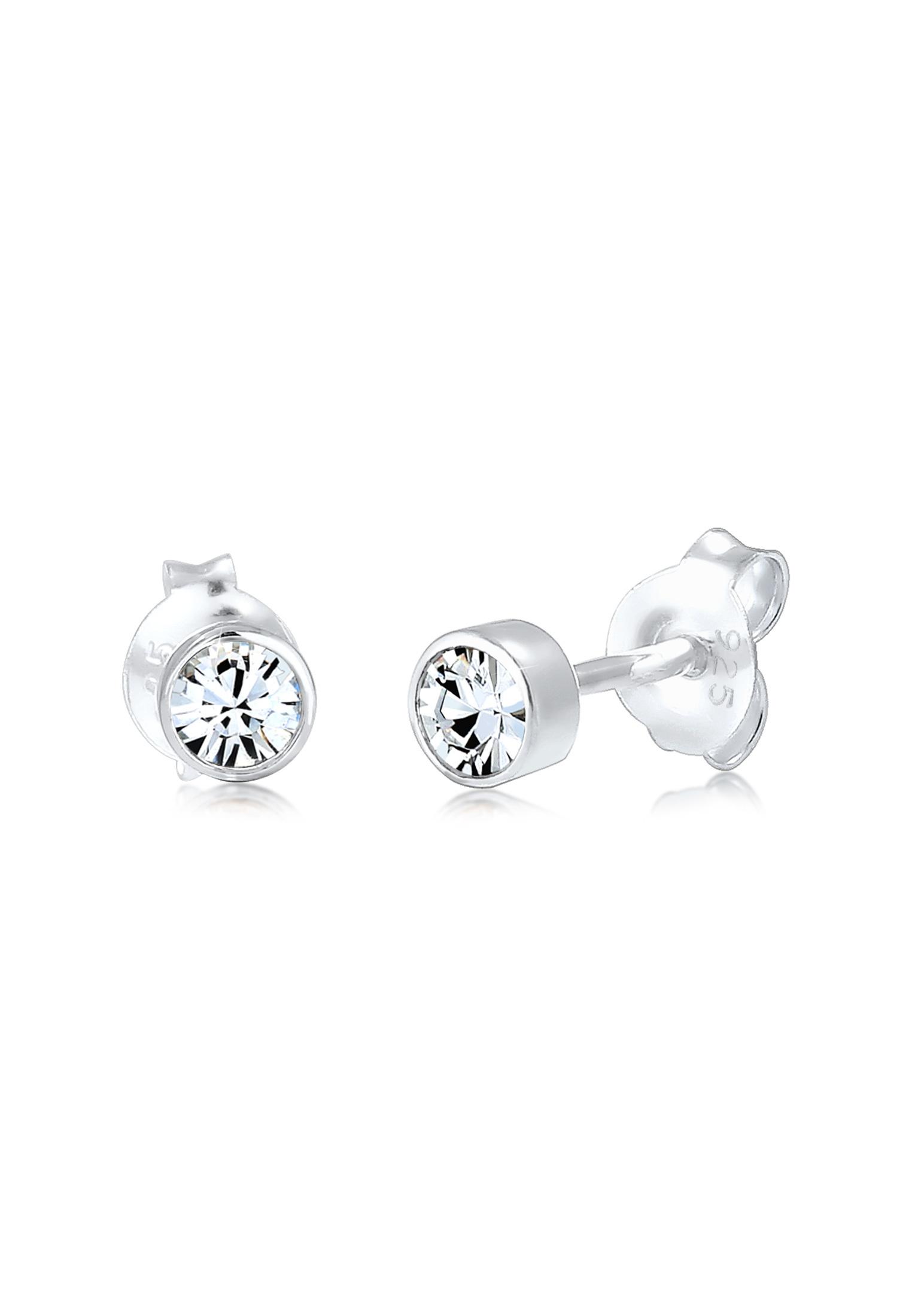 Ohrstecker   Kristall ( Weiß )   925er Sterling Silber