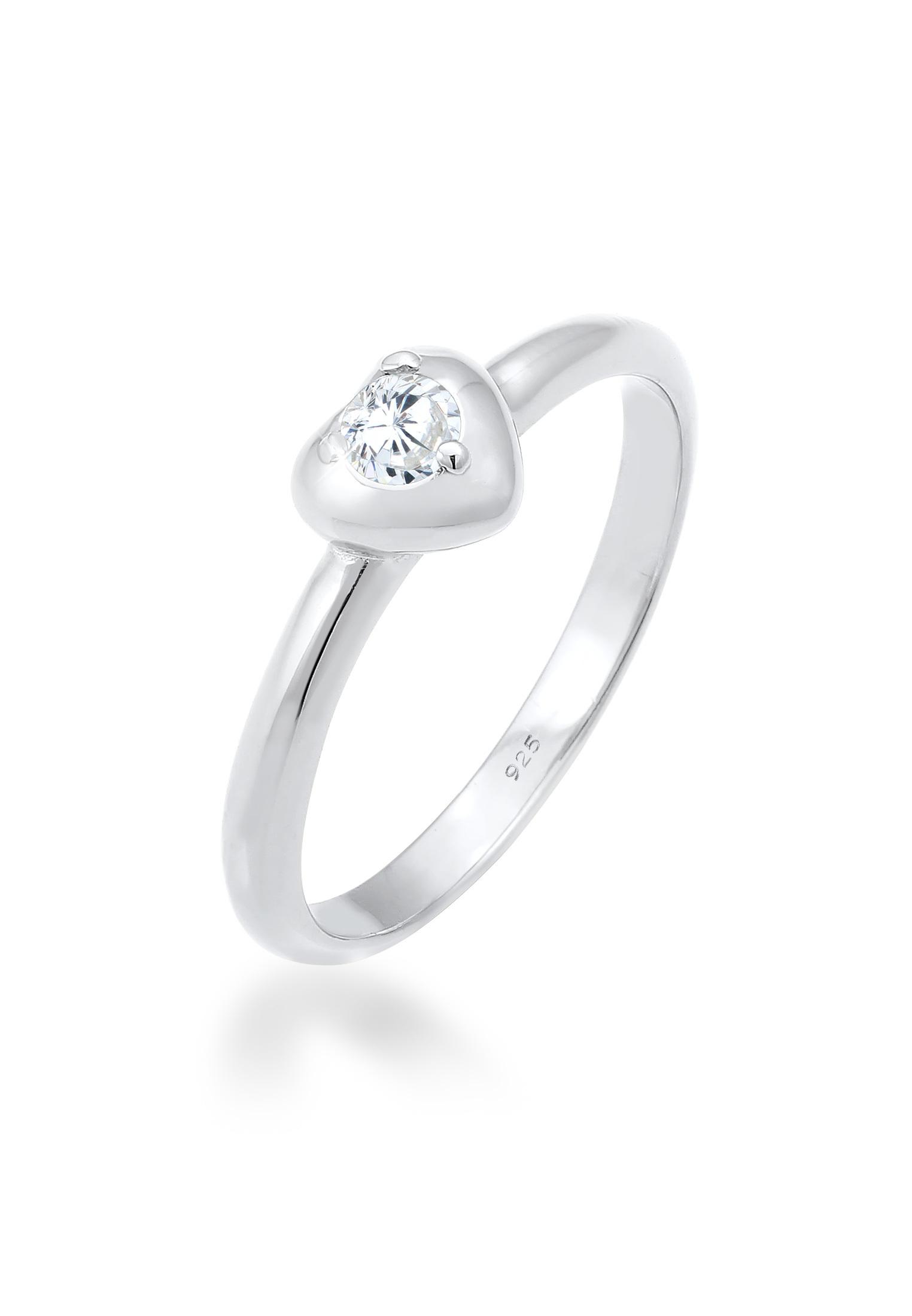 Ring Herz | Zirkonia ( Weiß ) | 925er Sterling Silber
